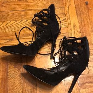 Shoes - Strappy black heels size 8.5!